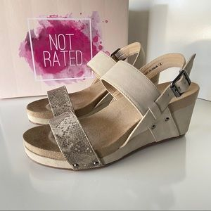 NWB Not Rated Revy Wedge Sandals